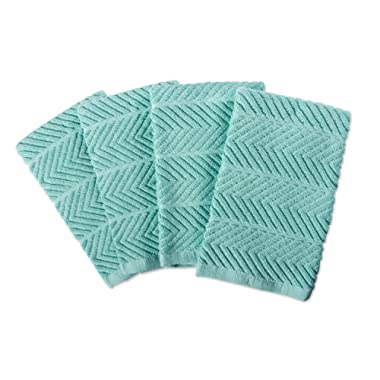 DII 100% Cotton, Ultra-Absorbent, Cleaning, Drying, Everyday Home Basic, Luxury Kitchen Chevron Dishtowel, 16 x 19 Set of4-Aqua