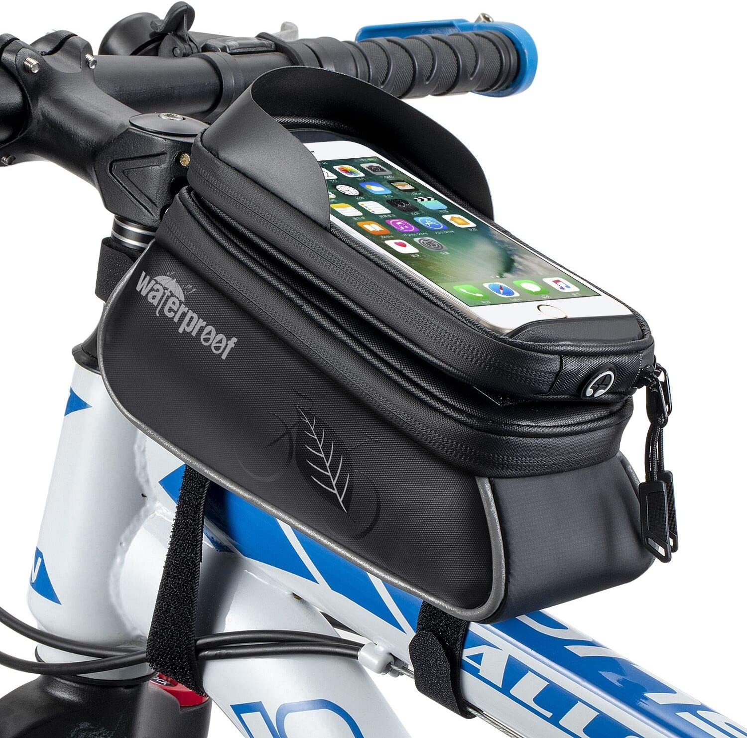 WOTOW Bicycle Phone Mount Bags, Waterproof Bike Front Frame Top Tube Handlebar MTB Cycling Bag with TPU Touch Screen Cell Phone Holder, Fits for iphone7 8 Plus/XR/Xs Max Samsung Huawei Up to 6.6""