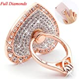 Phone Stand, Luxury Updated Re-Usable Metal Stainless Phone & Tablet Anti Drop Ring Stand Holder with Diamonds for iPhone iPod iPad Samsung and More (Heart Shape-Rose Gold) (RoseGold)