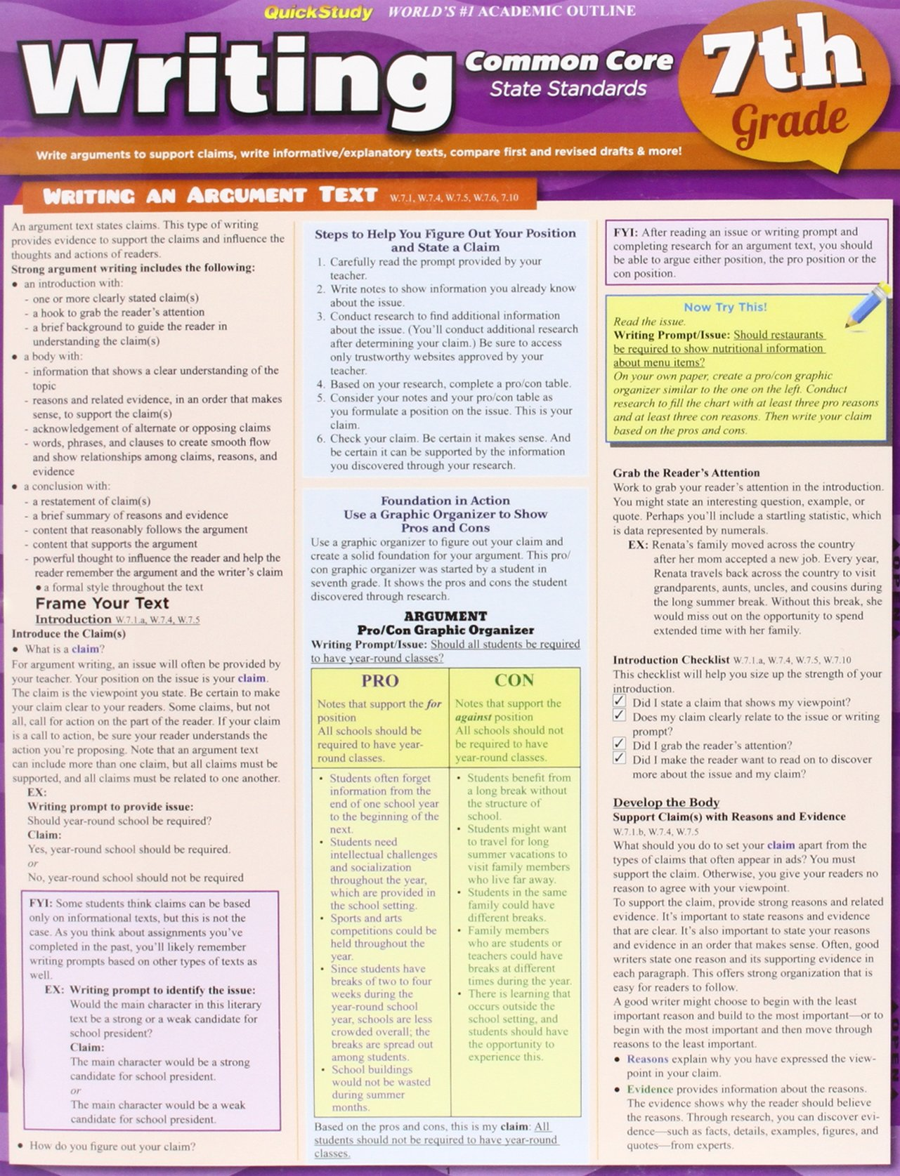 Writing Common Core 7Th Grade (Quickstudy) ebook