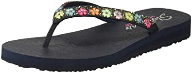 Skechers Damen Meditation-Daisy Delight Zehentrenner, Mehrfarbig (Dark Natural), 40 EU