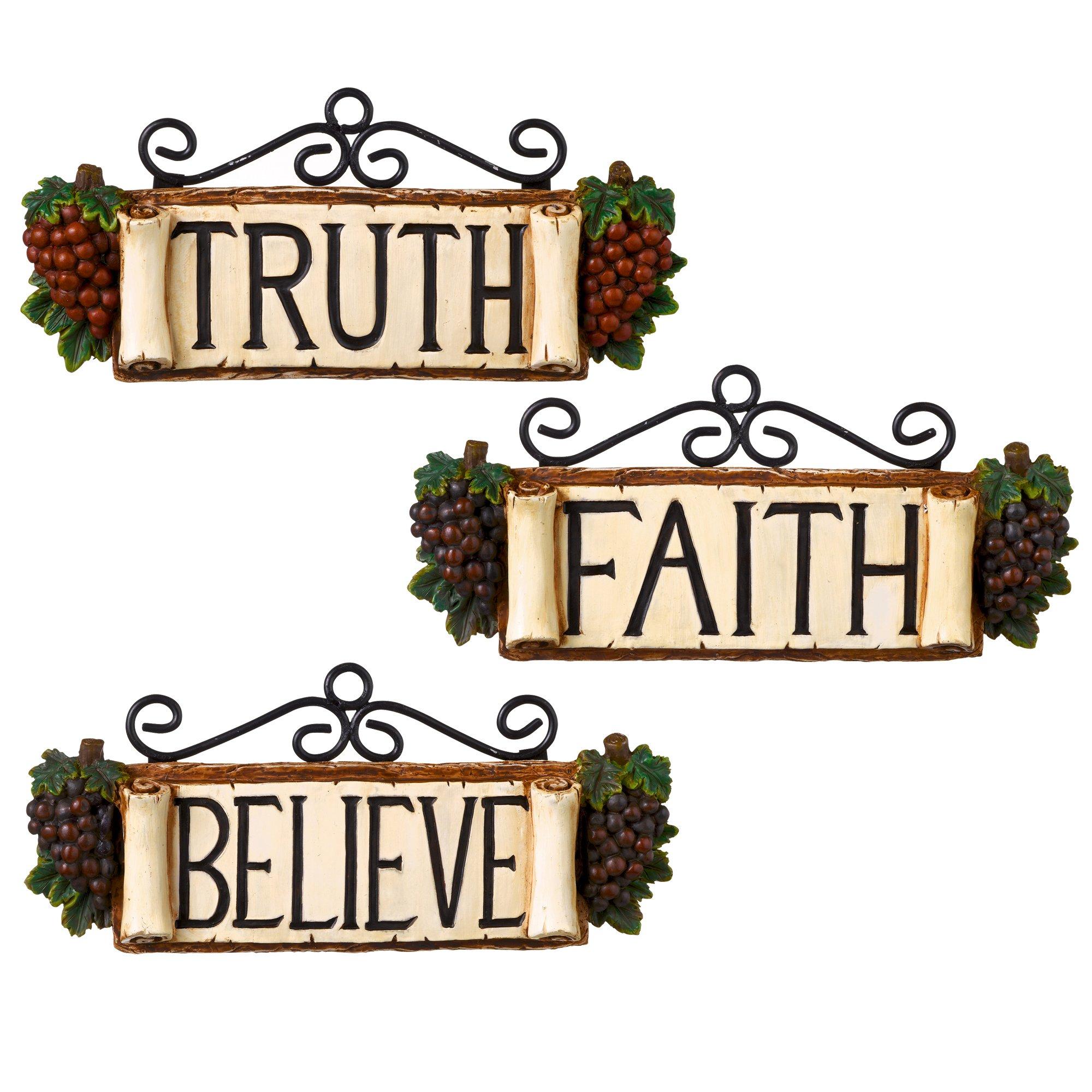 Grasslands Road In Vino Veritas Resin Believe, Truth, Faith Plaque, 6-Inch, Set of 6