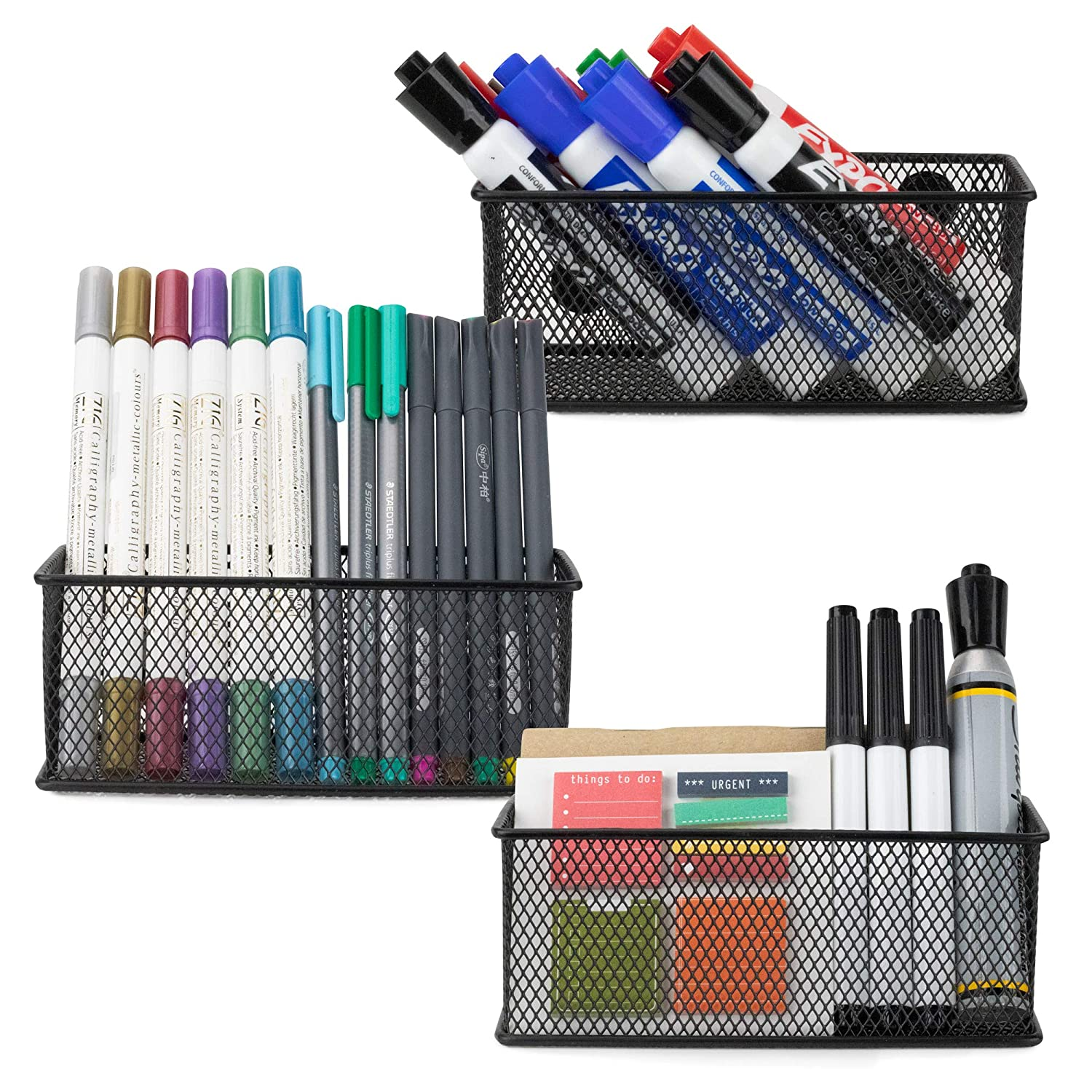 Workablez Magnetic Pencil Holder Set of 3 - Mesh Storage Baskets with Extra Strong Magnets - Perfect Marker and Pen Organizer Set Holds Securely Your Whiteboard and Locker Accessories
