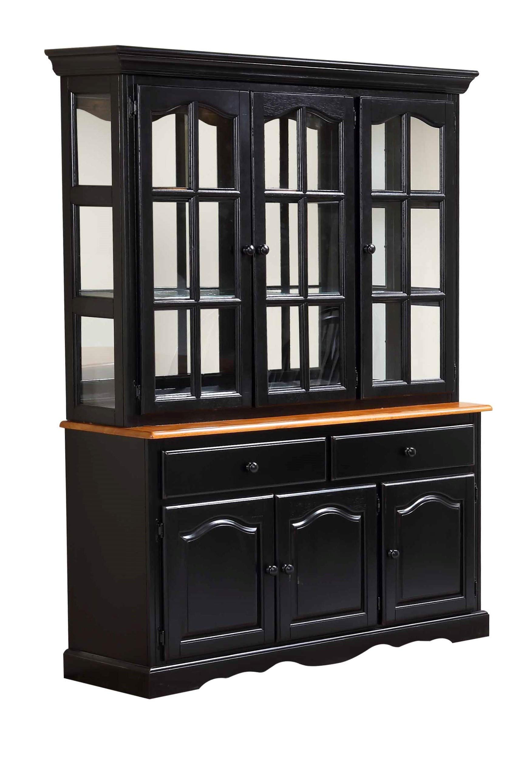 Sunset Trading Black Cherry Selections Buffet and Hutch, Three Door | Two Drawer, Distressed Antique by Sunset Trading