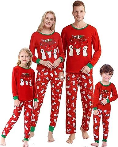 Family Matching Christmas Pajamas for Boys Girls Snowman Sleepwear Kids PJs Men Women 2 Pieces Pants Set