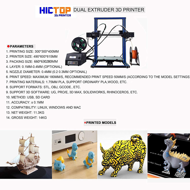Impresora HICTOP 3D DUALE 3 Extrusora Dual Independiente - Prusa ...