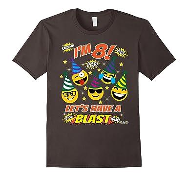 Mens Emoji Birthday Shirt For 8 Year Old Boy Girl Have A Blast 3XL Asphalt