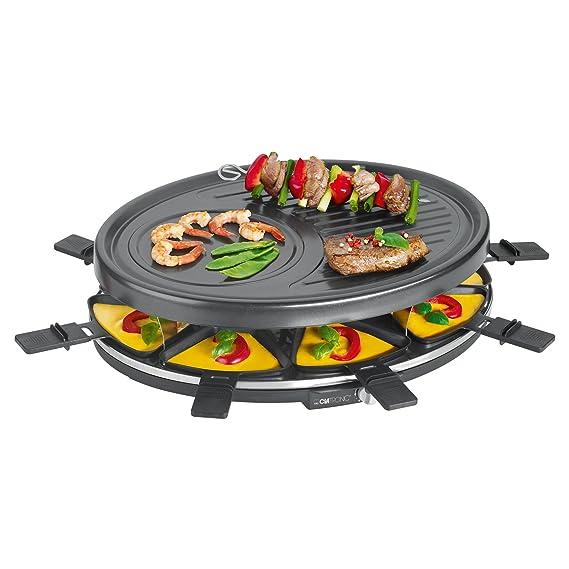 Clatronic RG 3517 Raclette-Grill zum Grillen und Überbacken, 8 Pfännchen und 8 Holzspatel, Antihaftbeschichtung, Stufenlos re