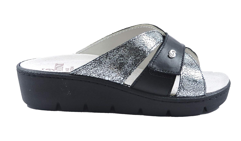 - Sabatini Ciabatta, Damen Sandalen Schwarz schwarz Silber