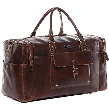 SID & VAIN® Bolsa de Viaje Yale Bolso de Deporte Maletín Tipo Weekender Piel marrón