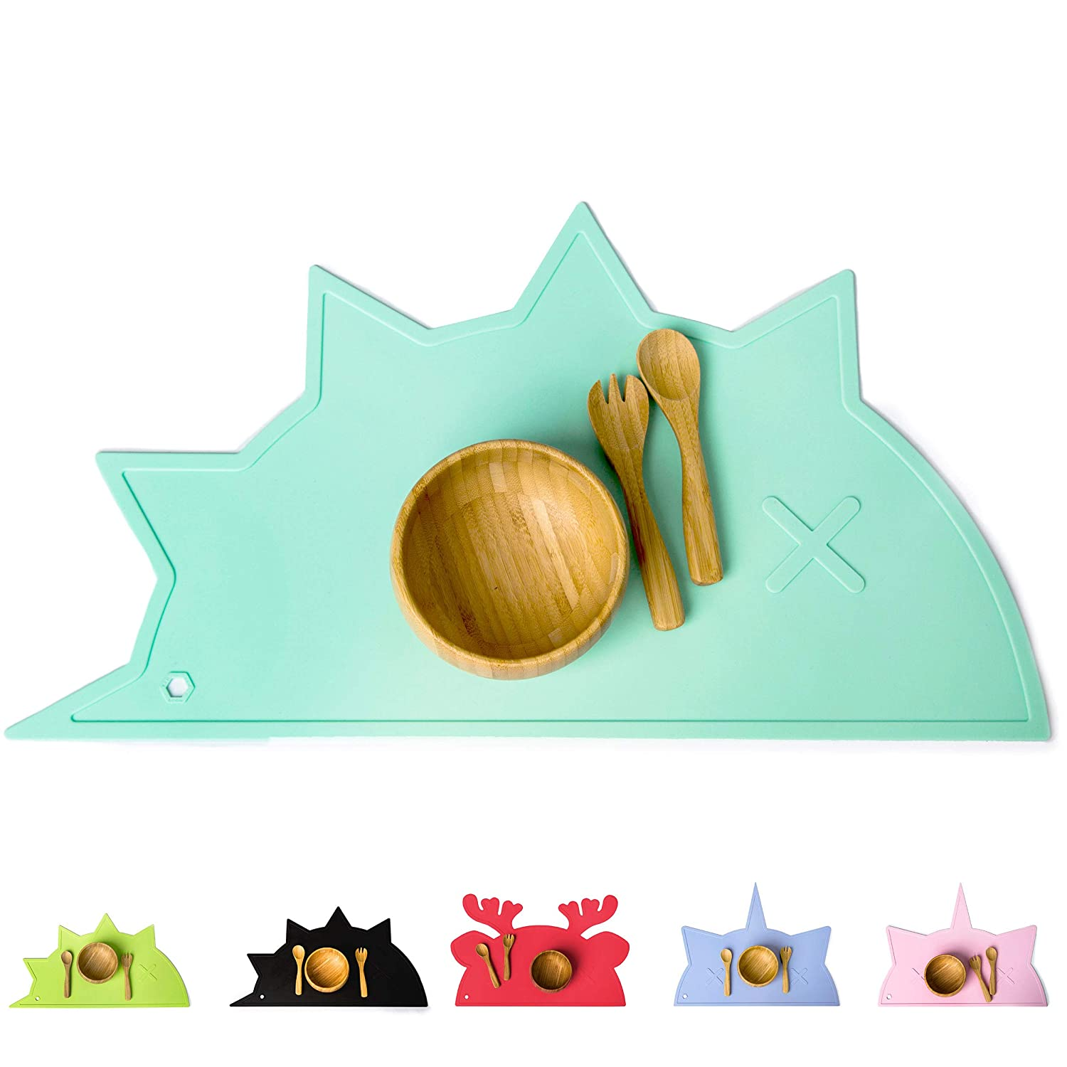 Silicone Placemat for Kids, Babies and Toddlers | Non-Slip Mats, Chemical Free & Food Grade Baby Mat | Portable Placemats | Raised Edges Prevent Spills | BamBamBoom Hedgehog-Dino Mint