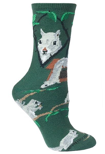 Diseño de ardilla calcetines en verde Verde Hunter Verde L: Amazon.es: Ropa y accesorios