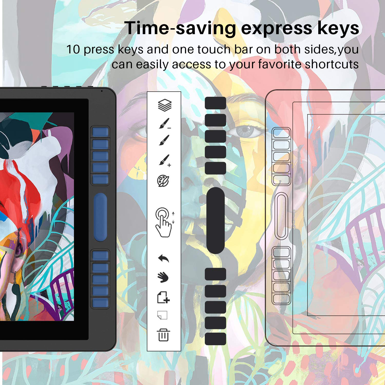 HUION KAMVAS Pro 22 Profesional Monitor de gráficos 8192 Sensible a la presión con lápiz sin batería y 10 Teclas personalizables1 Touch Bars GT-221 Pro V2 ...