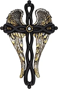 RAINBOW Gold & Silver Angel Wings Wall Cross