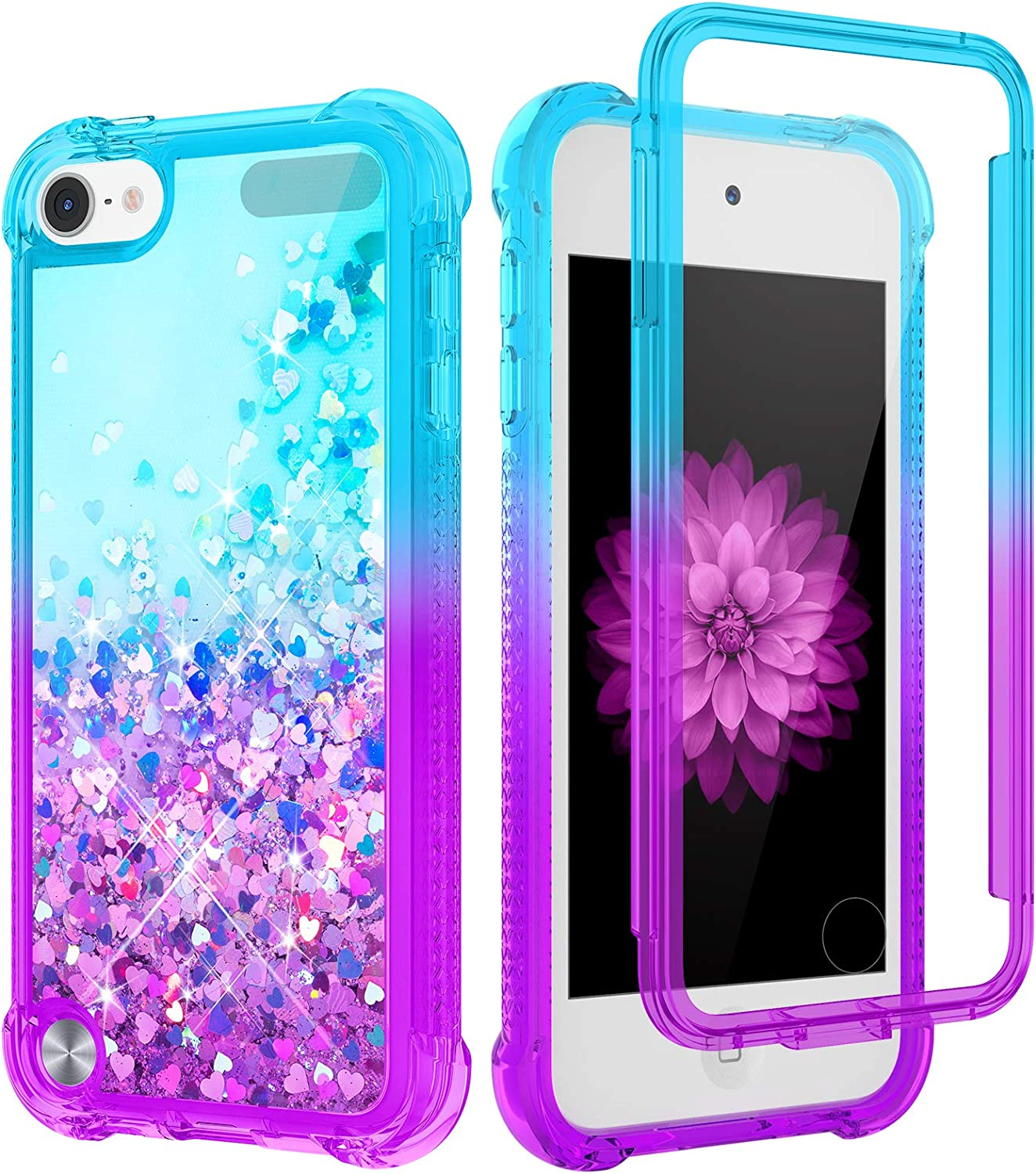 Caka iPod Touch 7th 6th 5th Generation Case, iPod Touch 7 Case Glitter for Girls Women Full Body with Built in Screen Protector Liquid Protective Case for iPod Touch 7th 6th 5th (Teal Purple)