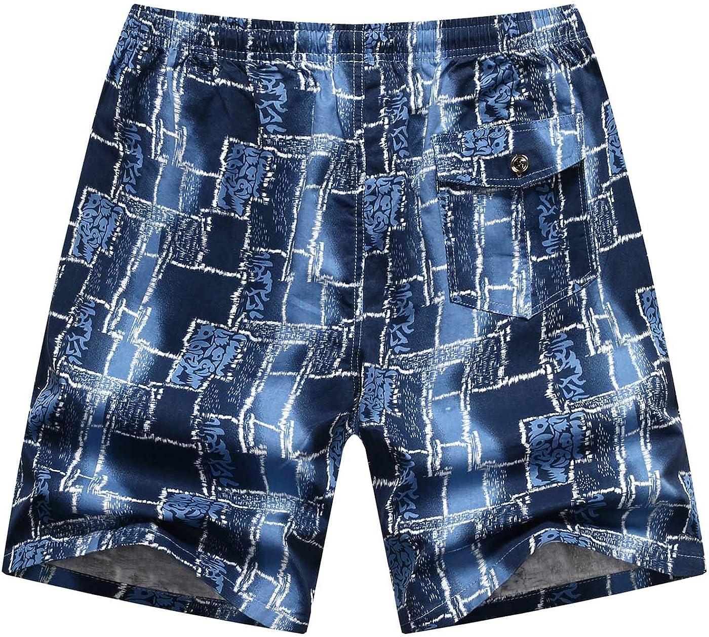 AIEOE Mens Summer Cotton Beach Boardshorts Casual Drawstring Zipper-Pockets Patterns Shorts