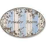 Stupell Home Brown and Aqua Scroll Powder Room Oval Bath Plaque