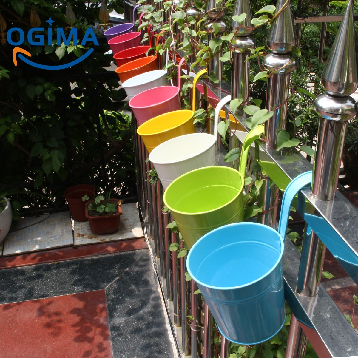 10 x Metal Iron Flower Pot Vase Hanging Balcony Garden Planter Home Decor OGIMA