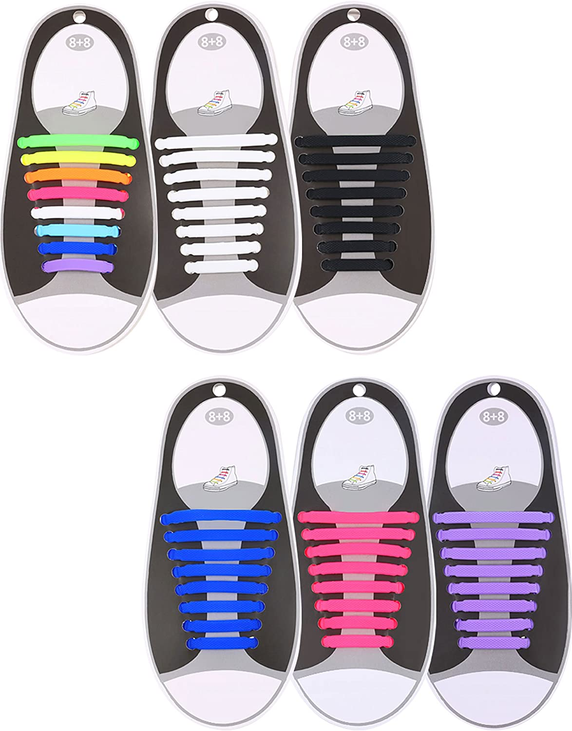 """Athletic Shoe Laces in 4 Sizes of 27"""" to 54"""" Colors Black /& White 6-Pairs"""