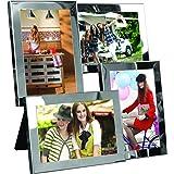 Cadre photo pêle-mêle à suspendre ou à poser - Métal acier chromé - Capacité 4 photos