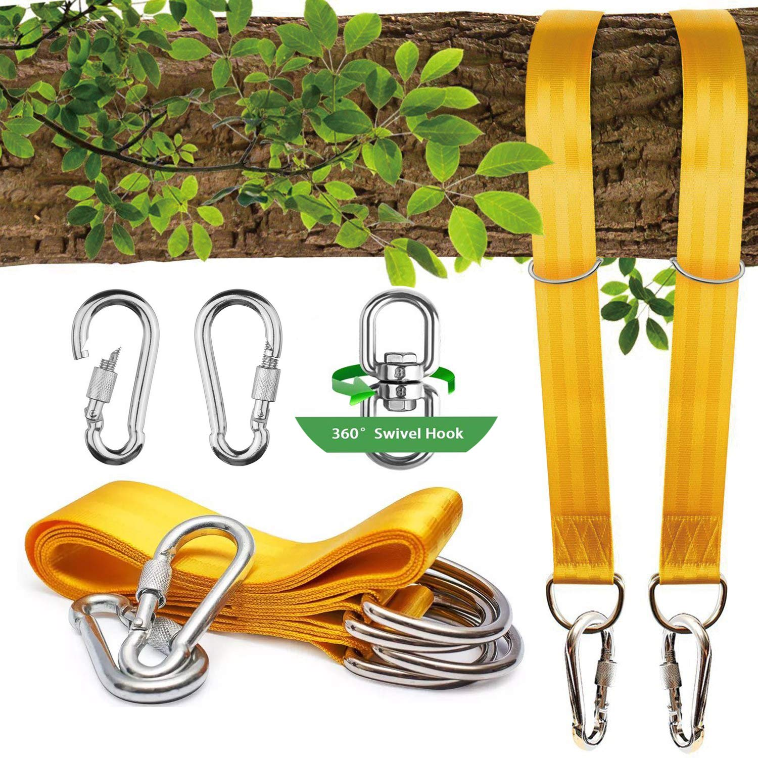 NEW~ Tree Swing Straps(5FT),2 Sets Heavy Duty Straps with Carabiners +Swivel/Spinner-Holds 2200lbs-Swing & Hammock ropes and hangers to hang Tire,Saucer,Web Swing/Toddler swing-SAFE &EASY Hanging Kit