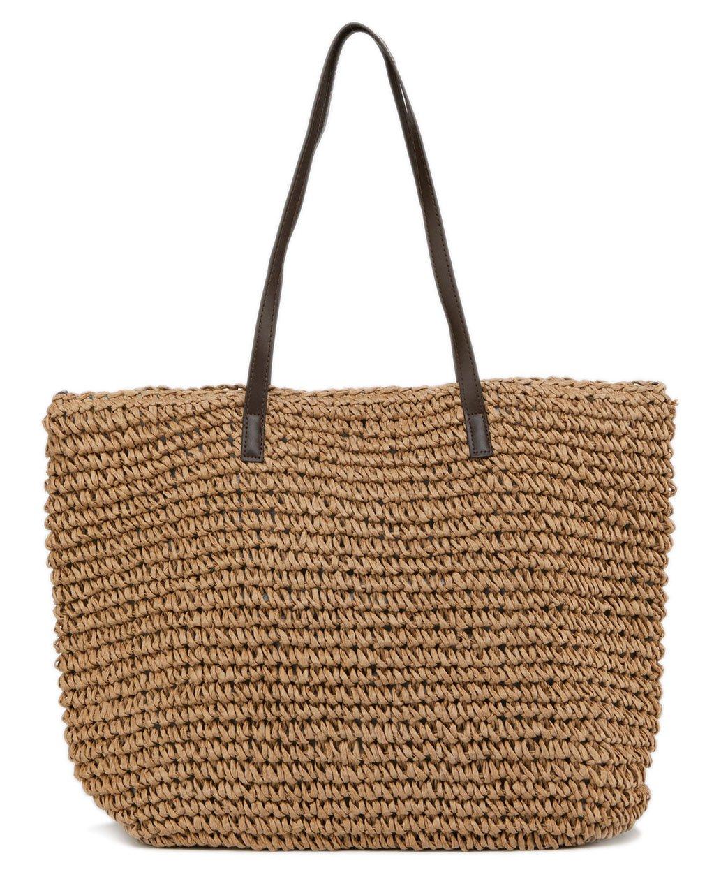 ilishop Women's Classic Straw Summer Beach Sea Shoulder Bag Handbag Tote (Brown)