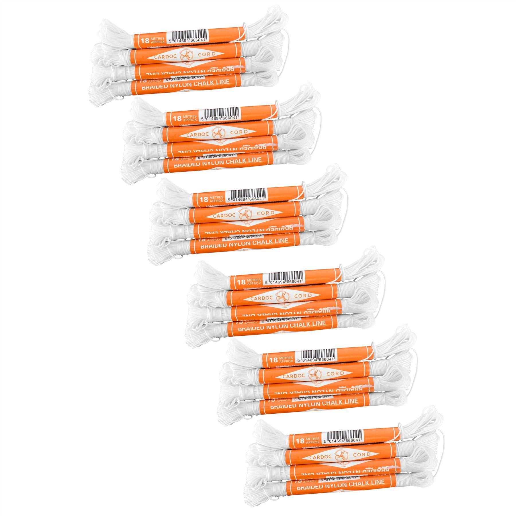 Cardoc Cord Braided Nylon Chalk Brick Line Size A 18m Building (24 Pack) TE239 by AB Tools-Toolzone