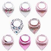 Baby's Bandana Bib Teething Bib with Cute Designs, 8-Pack, Random Designs/Colors