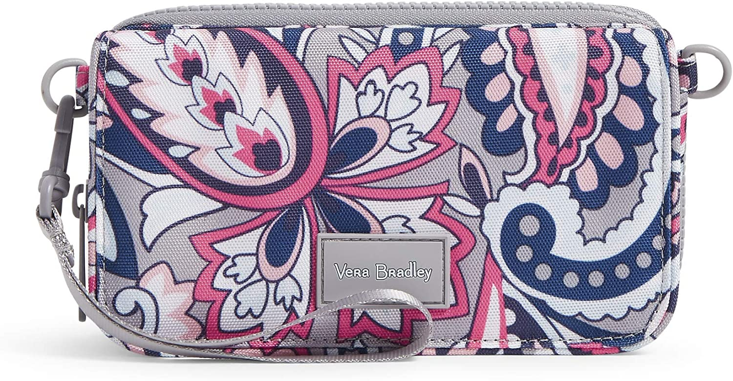 Vera Bradley Women's Recycled Lighten Up ReActive Compact Crossbody Purse with RFID Protection