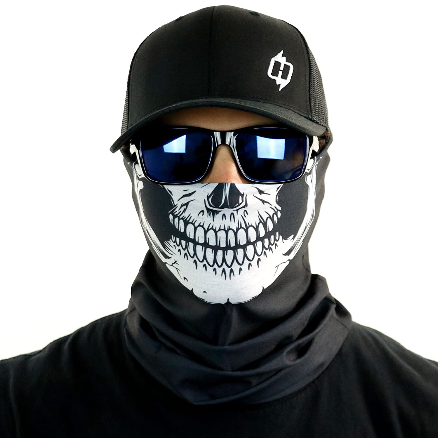Hoo-Rag Skull Tubular Bandana With Skeleton Design Works In Hot And Cold HRB04