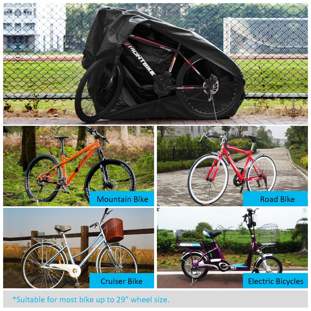 Puroma Bike Cover Outdoor Waterproof Bicycle Covers Rain Sun UV Dust Wind Proof with Lock Hole for Mountain Road Electric Bike XL