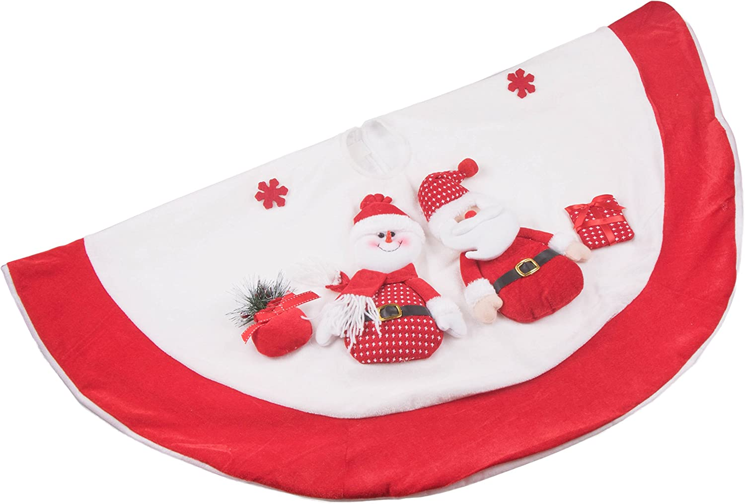 42 Diameter Clever Creations Red and White Christmas Tree Skirt Design with Santa and Snowman Classic Holiday Decor Perfect for Any Size Tree Catches Falling Needles Aids in Cleanup