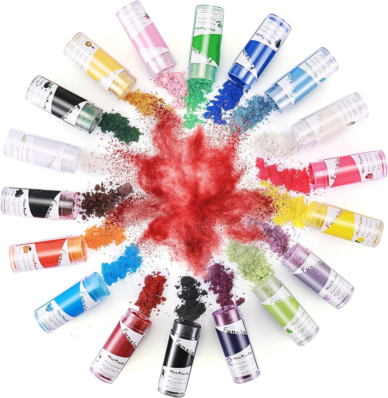 Funxim Color Epoxi 18 × 15 ml, Polvo de Mica Color MetáLico Resina de JabóN Color Pigmento en Polvo Colores para Resina Epoxi Suministros de ...