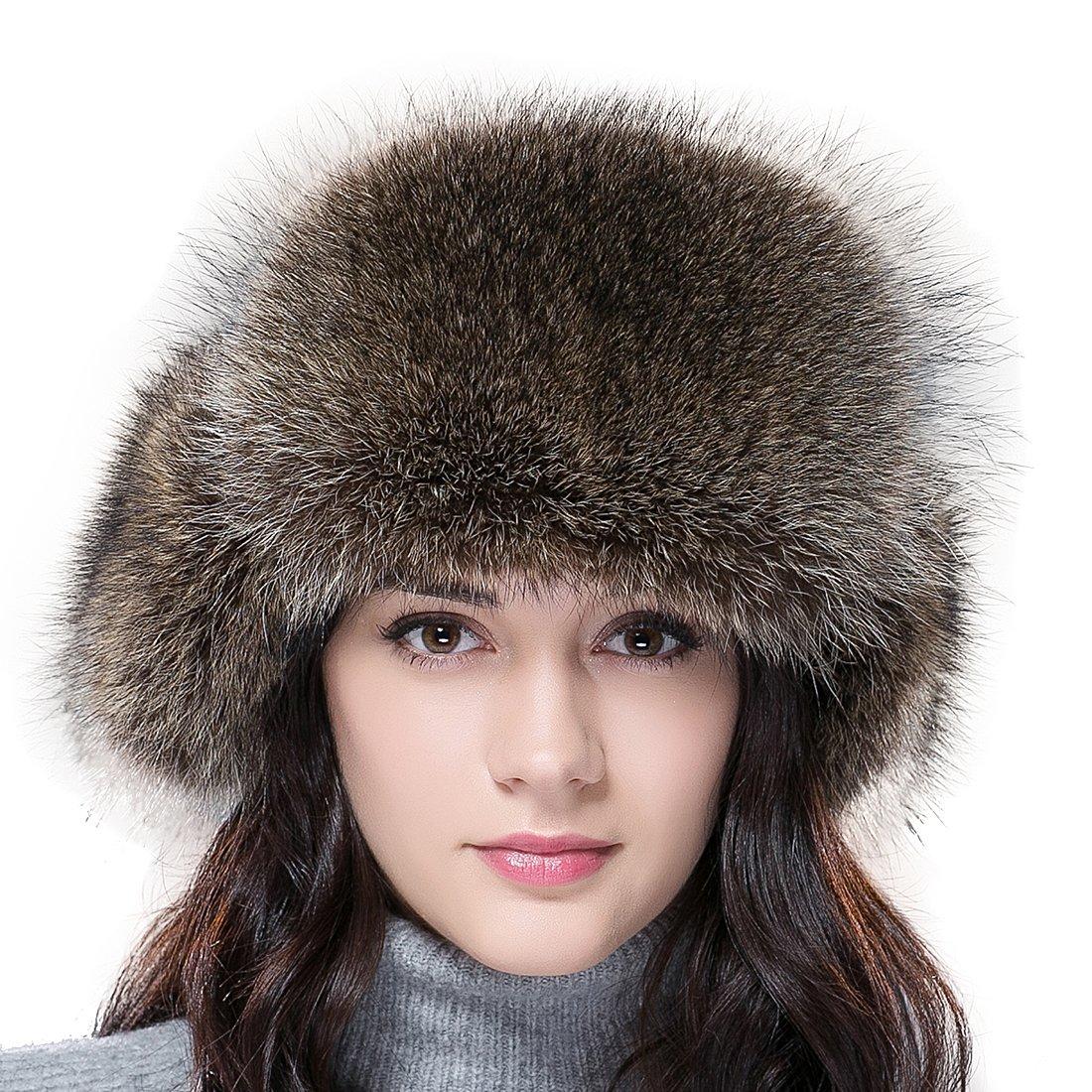 URSFUR Women's Fox & Raccoon Fur Russian Ushanka Trapper Hat Caps with Ear Flap .Ltd. URSFUR-YQ-FL1521TL