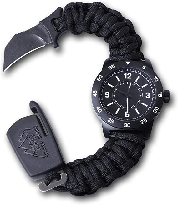 OUTDOOR EDGE Zinc ParaClaw CQD Survival Watch with Heavy Duty Paracord Bracelet