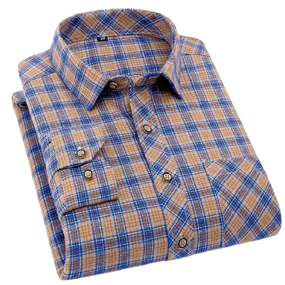 Mfasica Mens Fitted Spring//Autumn Square Collar Long Sleeve Plaid Pattern Shirts
