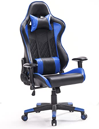 Top Gamer Talla Grande Silla de Oficina de Escritorio computadora ergonomica Racing Gaming con Masaje Soporte Lumbar y reposapiés Ajustable (Negro/Azul): ...