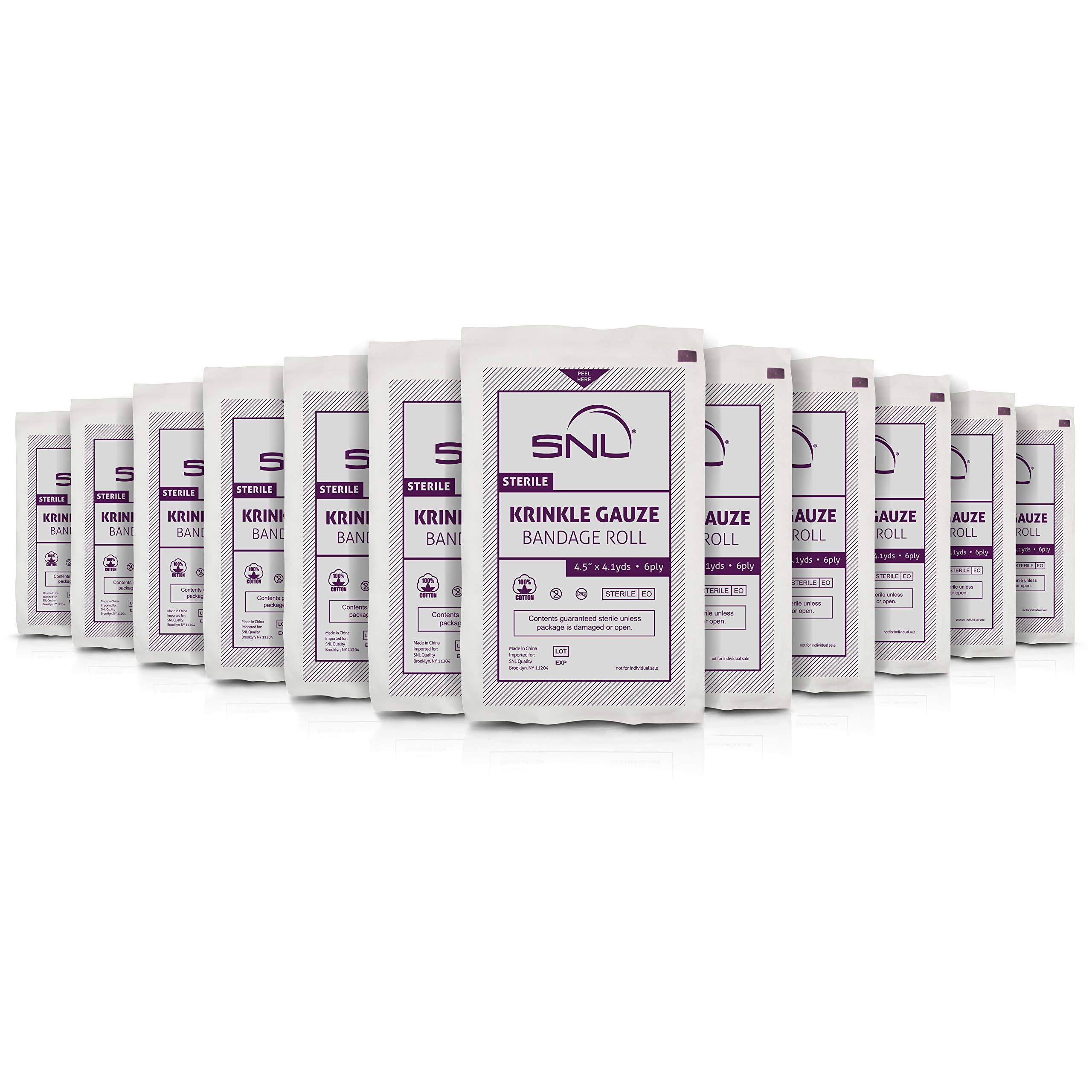 SNL Sterile Krinkle Kerlix Type 4 1/2'' x 4 1/8 Yds, Latex Free, Bandage Roll - Pack of 12 by SNL
