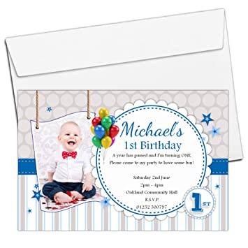 10 Personalised Boys 1st First Birthday Party Photo Invitations