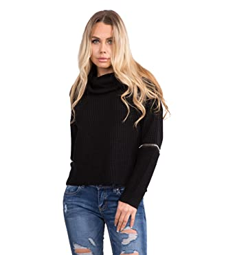 dd7d81159178 Lusty Chic New Women s Cowl Roll Neck Slouch Comfy Oversized Knit Pullover  Jumper with Zips