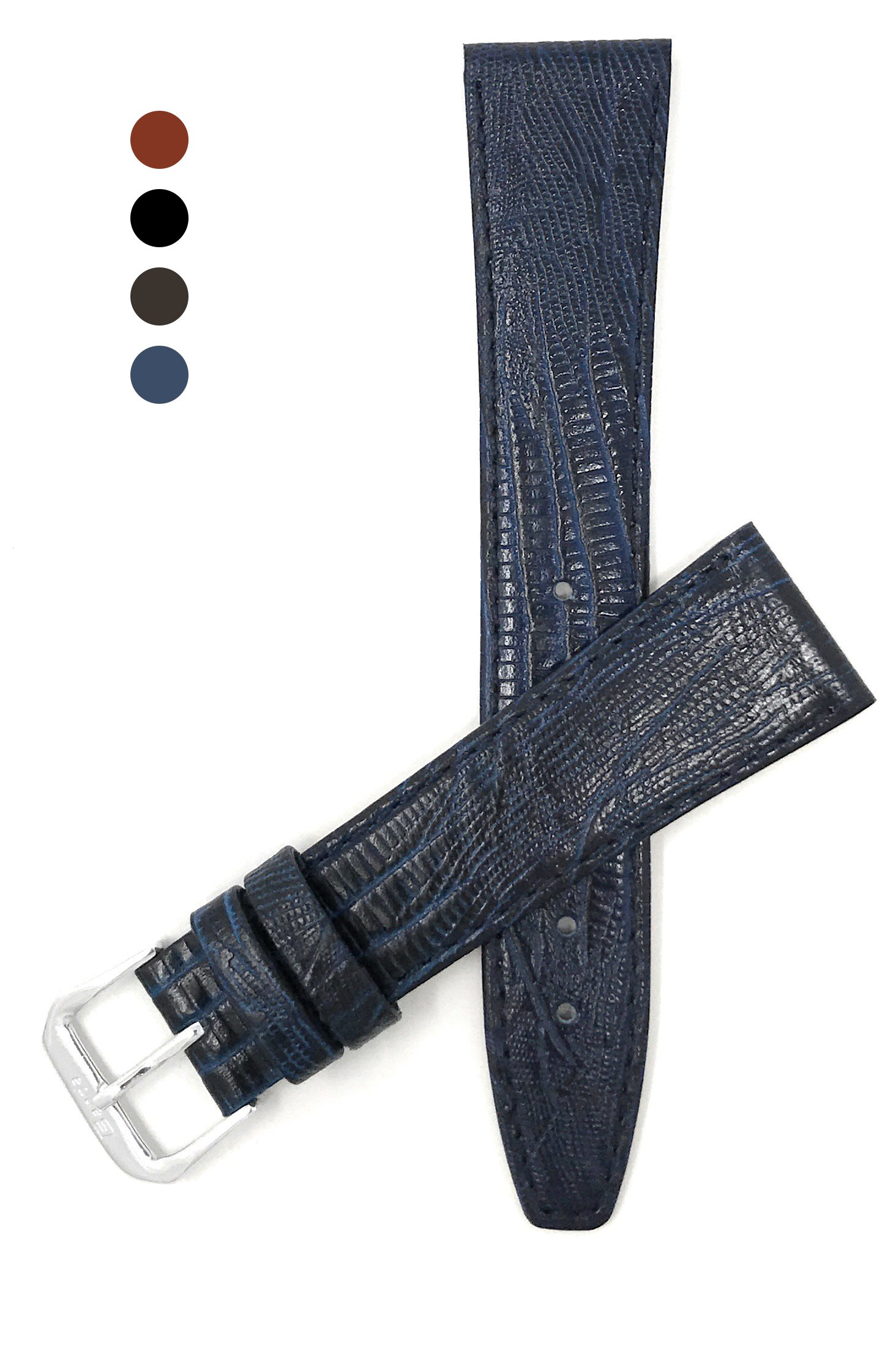 12mm, Blue Womens', Slim, Lizard Style, Genuine Leather Watch Band Strap, Also Comes in Black, Brown and Tan