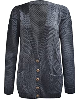 f286772a4f902c RIDDLED WITH STYLE Women s Ladies Long Sleeve Button Top Chunky Aran Cable  Knitted Grandad Cardigan
