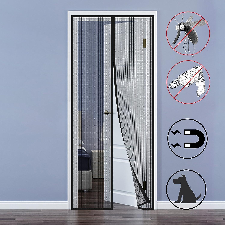 Mosquitera Puertas, Mosquitera Magnética Automático para Puertas Cortina de Sala de Estar la Puerta del Balcón Puerta Corredera de Patio 90 x 210cm