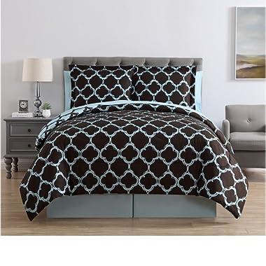 VCNY Galaxy 8-Piece Comforter Set, Queen, Blue/Chocolate
