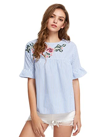 Floerns womens flower embroidery loose casual babydoll top blouse floerns womens flower embroidery loose casual babydoll top blouse blue white xs mightylinksfo