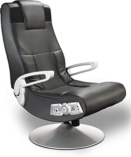 X Rocker SE 2.1 Black Leather Video Gaming Chair for Adult, Teen, and Kid Gamers with Pedestal Base, Armrest, and Headrest - High Tech Audio and ...