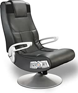 X Rocker SE 2.1 Black Leather Video Gaming Chair for Adult, Teen, and Kid Gamers with Pedestal Base, Armrest, and Headrest - High Tech Audio and Wireless Capacity - Ergonomic Back Support