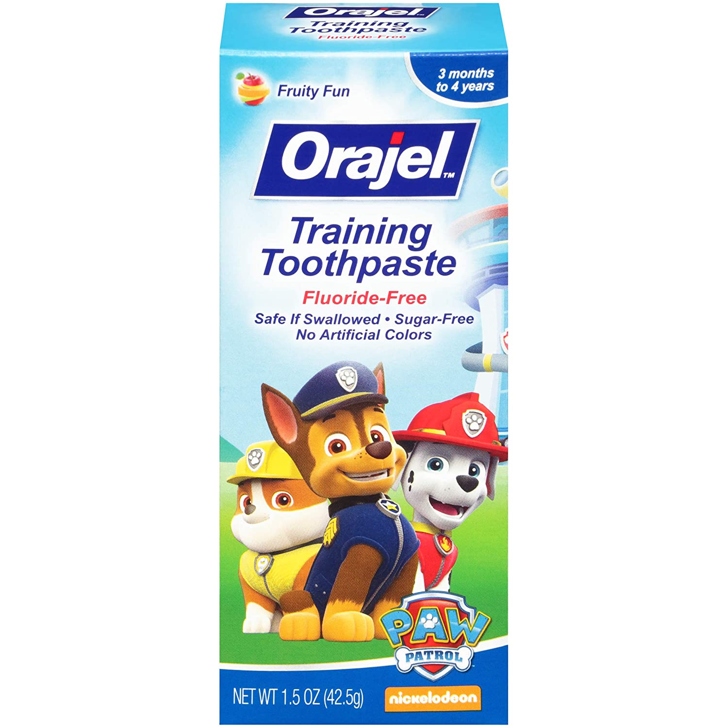 Orajel Fluoride-Free Training Toothpaste for Toddlers, Paw Patrol, 42.5-g Church & Dwight CA 310310324605