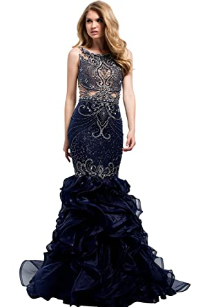 Jovani Evening Fall Ball Gowns Partywear Collection Womens Prom Dress (36991) Color Navy/