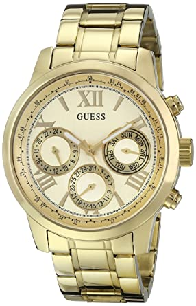 8dcfa3a867 GUESS Classic Gold-Tone Stainless Steel Bracelet Watch with Day, Date + 24  Hour